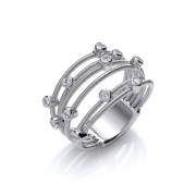 Sterling silver Cubic Zirconia Bubble wire ring